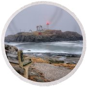 Nubble Lighthouse View Round Beach Towel