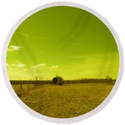 Round Beach Towel featuring the photograph Nuclear Fencerow by Nick Kirby
