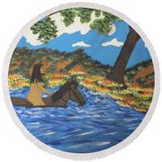Round Beach Towel featuring the painting Nude And Bareback Swim by Jeffrey Koss
