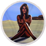 Nude Beach Beauty Round Beach Towel