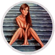 Nude City Beauty Round Beach Towel