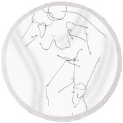 Nude Female Drawings 14 Round Beach Towel
