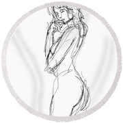 Nude Female Sketches 1 Round Beach Towel