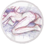 Nude Female Sketches 5 Round Beach Towel