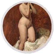 Nude From The Front Round Beach Towel