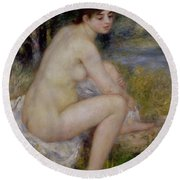 Nude In A Landscape Round Beach Towel