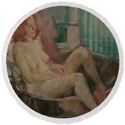 Nude In Old Tub, 2008 Oil On Canvas Round Beach Towel