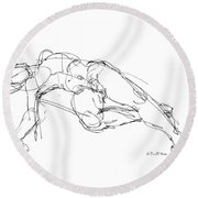 Nude Male Drawings 1 Round Beach Towel