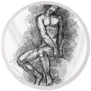 Nude Male Sketches 1 Round Beach Towel