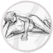 Nude Male Sketches 5 Round Beach Towel