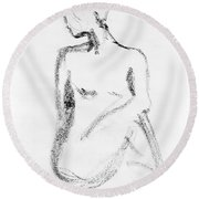 Nude Model Gesture Vi Round Beach Towel