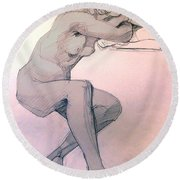 Nude Of A Dreamy Young Woman Round Beach Towel