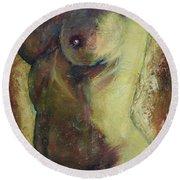 Nude Female Torso Round Beach Towel