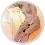 Round Beach Towel featuring the drawing Nude Woman Leaning On A Barstool by Greta Corens