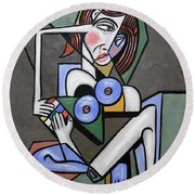Nude Woman With Rubiks Cube Round Beach Towel