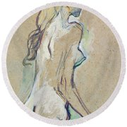 Nude Young Girl Round Beach Towel