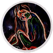 Outlined Nude 1 Round Beach Towel