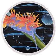 Round Beach Towel featuring the painting Nudibranche by Dianna Lewis