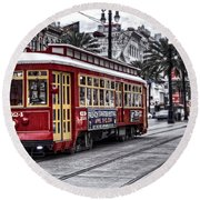 Round Beach Towel featuring the photograph Number 2024 Trolley by Tammy Wetzel