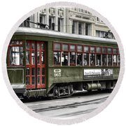 Round Beach Towel featuring the photograph Number 965 Trolley by Tammy Wetzel