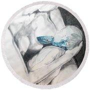 Round Beach Towel featuring the painting Nurturing The Sea by Lazaro Hurtado
