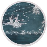 Nutcrackers Dance Of The Snowflakes Round Beach Towel