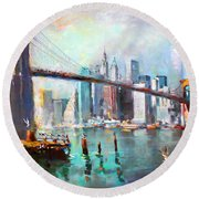 Ny City Brooklyn Bridge II Round Beach Towel by Ylli Haruni