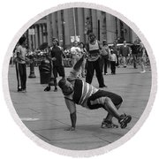 Round Beach Towel featuring the photograph Ny City Street Performer by Angela DeFrias