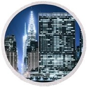 Ny Sights Round Beach Towel