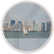 Ny City Skyline Round Beach Towel