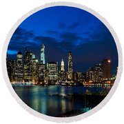Ny Skyline From Brooklyn Heights Promenade Round Beach Towel