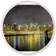 Nyc At Night Round Beach Towel