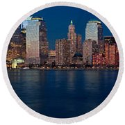 Nyc Pano Round Beach Towel by Jerry Fornarotto