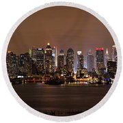 Nyc Skyline Round Beach Towel