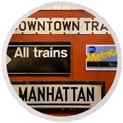 Nyc Subway Signs Round Beach Towel