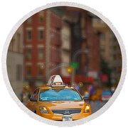 Taxi Round Beach Towel by Jerry Fornarotto