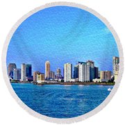 Round Beach Towel featuring the photograph Nyc  The Big Apple  by Judy Palkimas