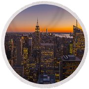 Nyc Top Of The Rock Sunset Round Beach Towel