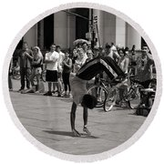 Round Beach Towel featuring the photograph Nycity Street Performer by Angela DeFrias