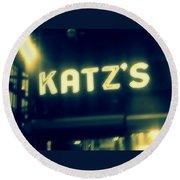 Nyc's Famous Katz's Deli Round Beach Towel