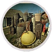 Nye Beach Buoys Round Beach Towel by Thom Zehrfeld