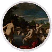 Nymphs At The Bath Round Beach Towel