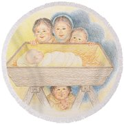 O Come Little Children - Christmas Card Round Beach Towel