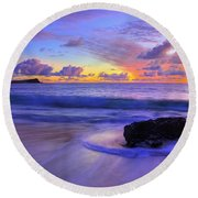 Oahu Sunrise Round Beach Towel by Dustin  LeFevre