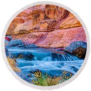 Oak Creek In The Spring Round Beach Towel
