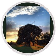 Oak Tree At The Magic Hour Round Beach Towel