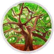 Round Beach Towel featuring the painting Oak Tree by Magdalena Frohnsdorff