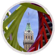 Oakland Tribune Round Beach Towel by Donna Blackhall