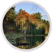 Round Beach Towel featuring the photograph Oakley Corners State Forest by Christina Rollo