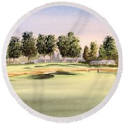Round Beach Towel featuring the painting Oakmont Golf Course 14th by Bill Holkham